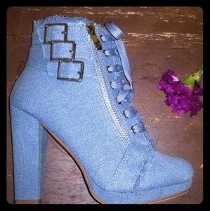 Light Denim Blue Block Heel Booties